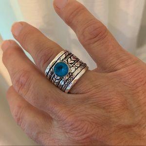 Jewelry - BLUE TOPAZ MEDITATION SPINNER HANDMADE RING SIZE 8